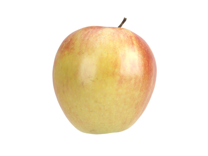 side view rendering of a red apple 3d model