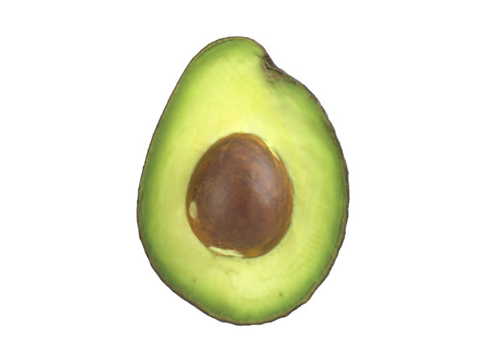 front view rendering of an avocado half 3d model