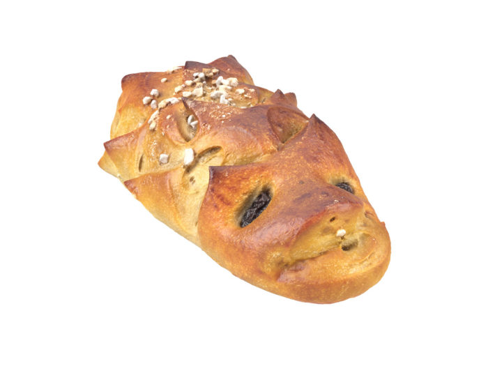 perspective view rendering of a hedgehog bread roll 3d model