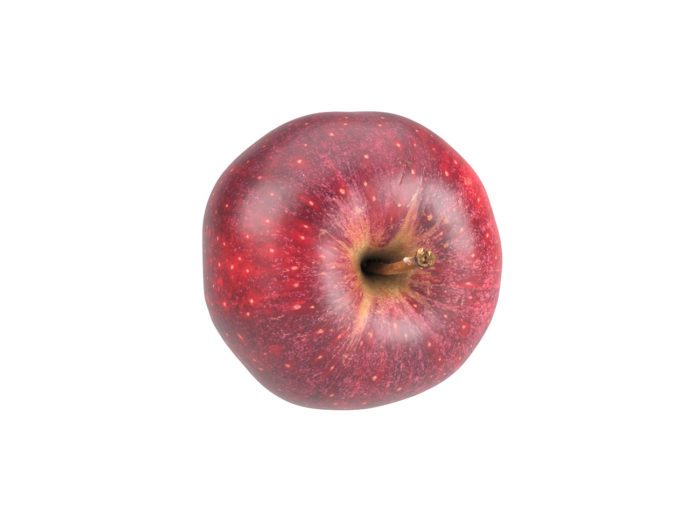 top view rendering of a red apple 3d model