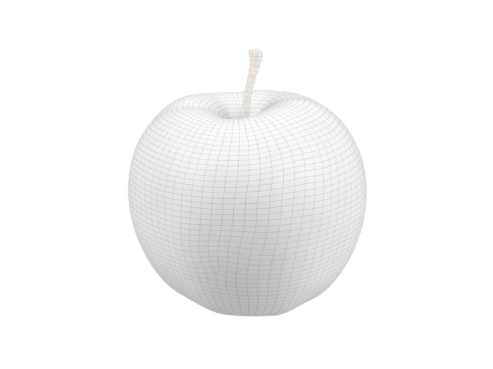 wireframe rendering of a red apple 3d model