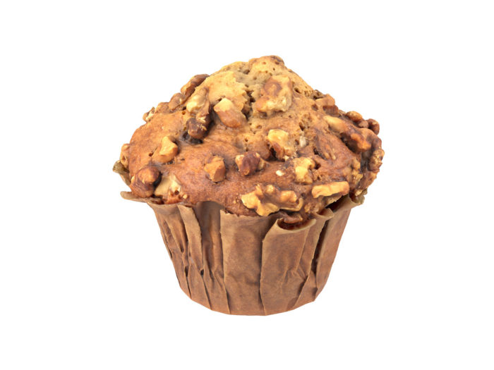 perspective view rendering of a banana walnut muffin 3d model