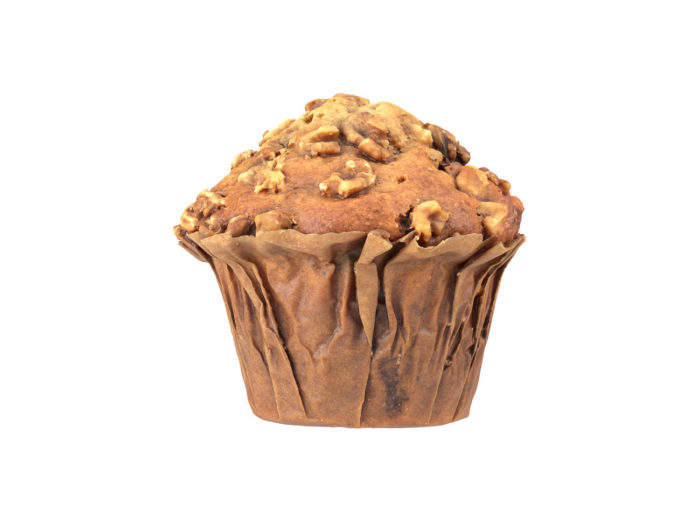 side view rendering of a banana walnut muffin 3d model