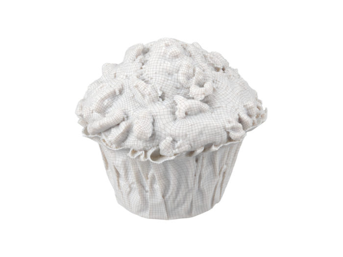wireframe rendering of a banana walnut muffin 3d model