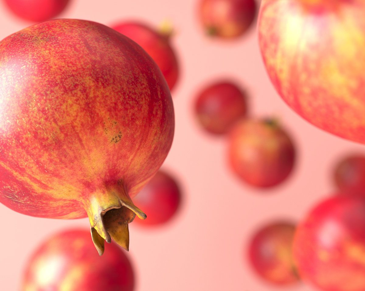 3d rendering of falling pomegranate 3d models